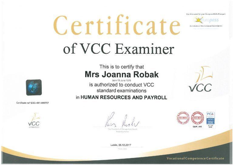 VCC Egzaminator Joanna Krystyna Robak