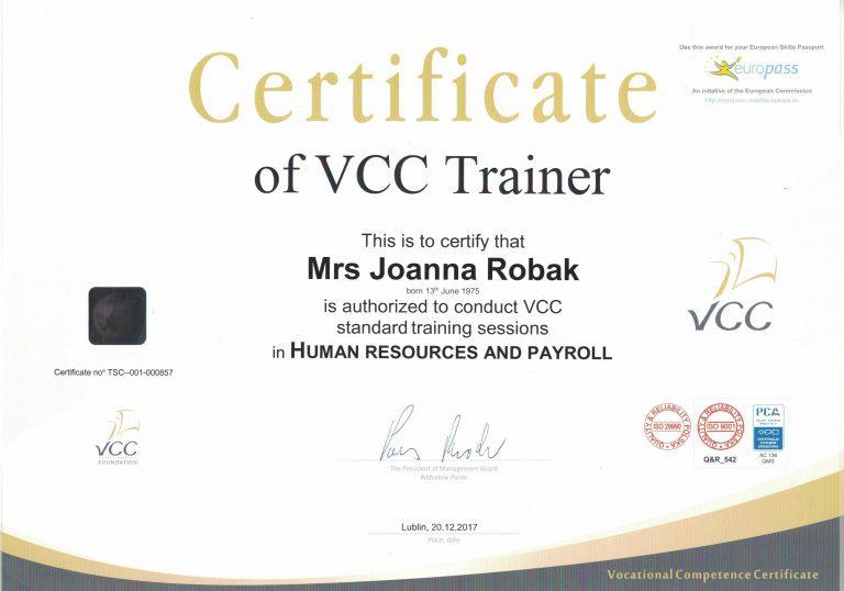 VCC Trener Joanna Krystyna Robak